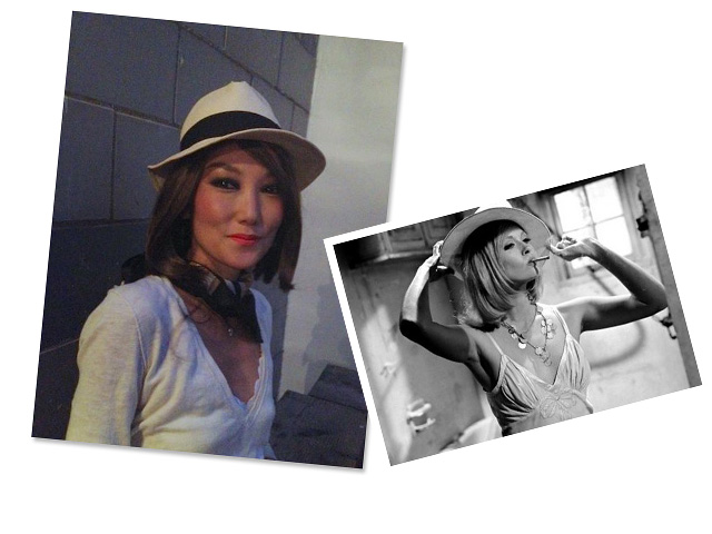 """Look 3: Jane pairs a fedora with a brown bob inspired by Faye Dunaway in Arthur Penn's """"Bonnie and Clyde"""""""