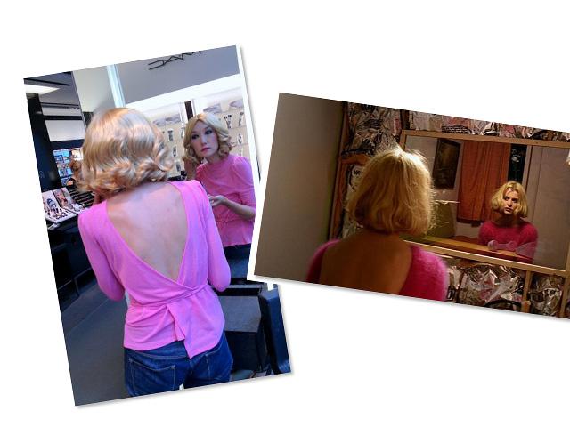 "Look 2: Jane sports a tousled blonde wig inspired by Natassja Kinski in  Wim Wender's ""Paris, Texas"""