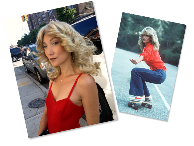 """Look 1: Jane wears a feathered blonde wig inspired by Farrah Fawcett in """"Charlie's Angels"""""""