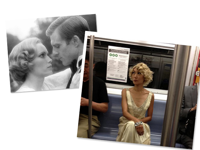 """Look 4: Jane braves the NYC subway wearing retro-styled curls inspired by Mia Farrow in Jack Clayton's """"The Great Gatsby"""""""