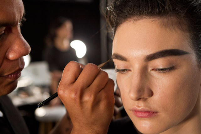 Mega brows backstage at Vera Wang. Photo by: Mat Szwajkos for Beauty Blitz