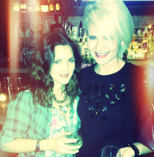 Klaudia with Drew Barrymore at the launch of Flower Beauty.