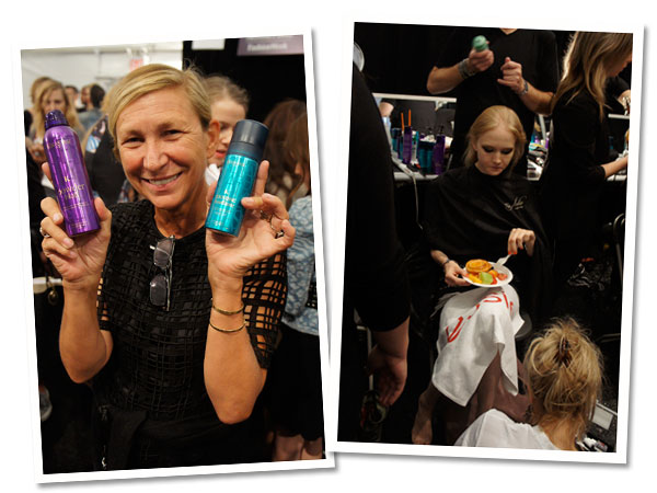Odile Gilbert poses with Kerastase products (left). A model eats her breakfast while getting her hair done (right).