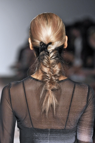 Joined fishtail braids at Kimberly Ovitz. Photo: Getty Images