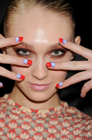 "Courtesy of CND. ""Flirty Flower"" nail design from Rachel Antonoff's Fall 2012 show."
