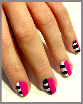 We Began By Painting On The Black And White Stripes Half Of Nail Using Art Deco Striper Polish Then Painted Essie In Tour De Finance