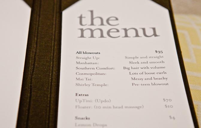 The salon's menu of styles. Photo: Courtesy of Drybar