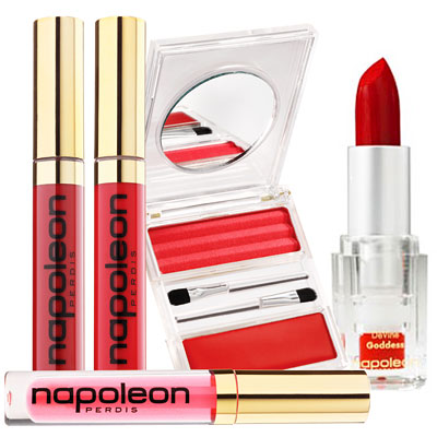 Napoleon Perdis Better Off Red Collection (from left to right): Front Row Red Lip Gloss ($25), Lady in Red Lip Gloss ($25), Under Cover Red Lip Gloss ($25), Double Agent Rouge Lip Palette ($22), Devine Goddess Lipstick in Xenia ($22).