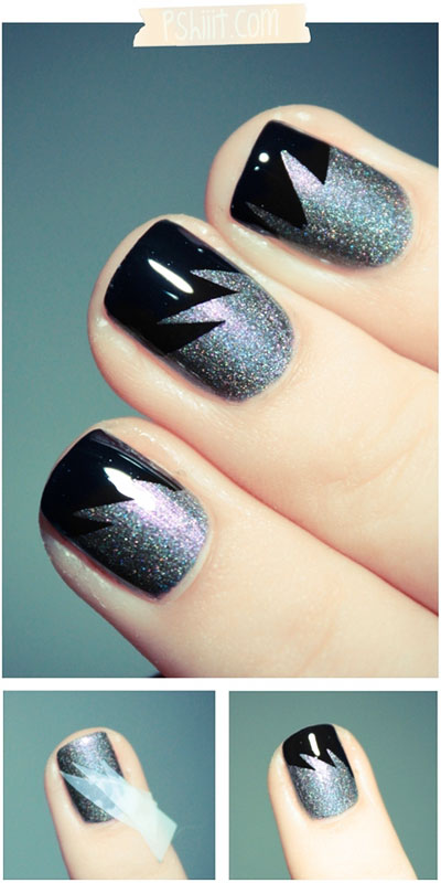 Thanks pinterest for my fabulous nail art beauty blitz this striking nail art seemed easy enough to recreate at home and i was determined to try it out as soon as i pinned it at first i thought cutting up all prinsesfo Image collections
